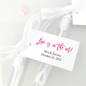 love is in the air bubble wand tags