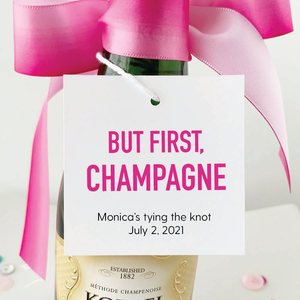 but first champagne square champagne favor tags