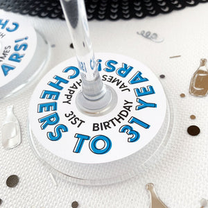 Cheers Happy Birthday Glass Tags