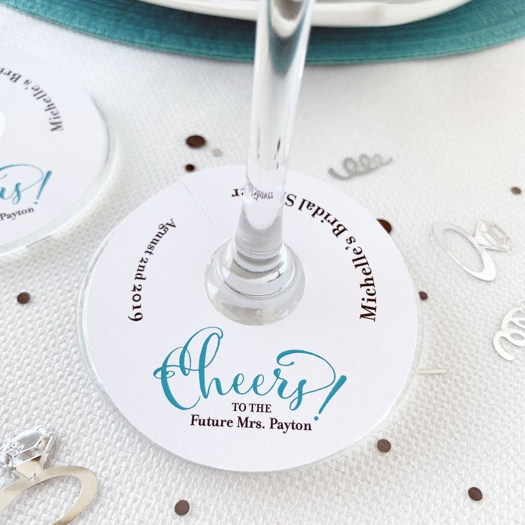 Cheers to the Future Mrs Wine Glass Tag Bridal Shower Favor Tags