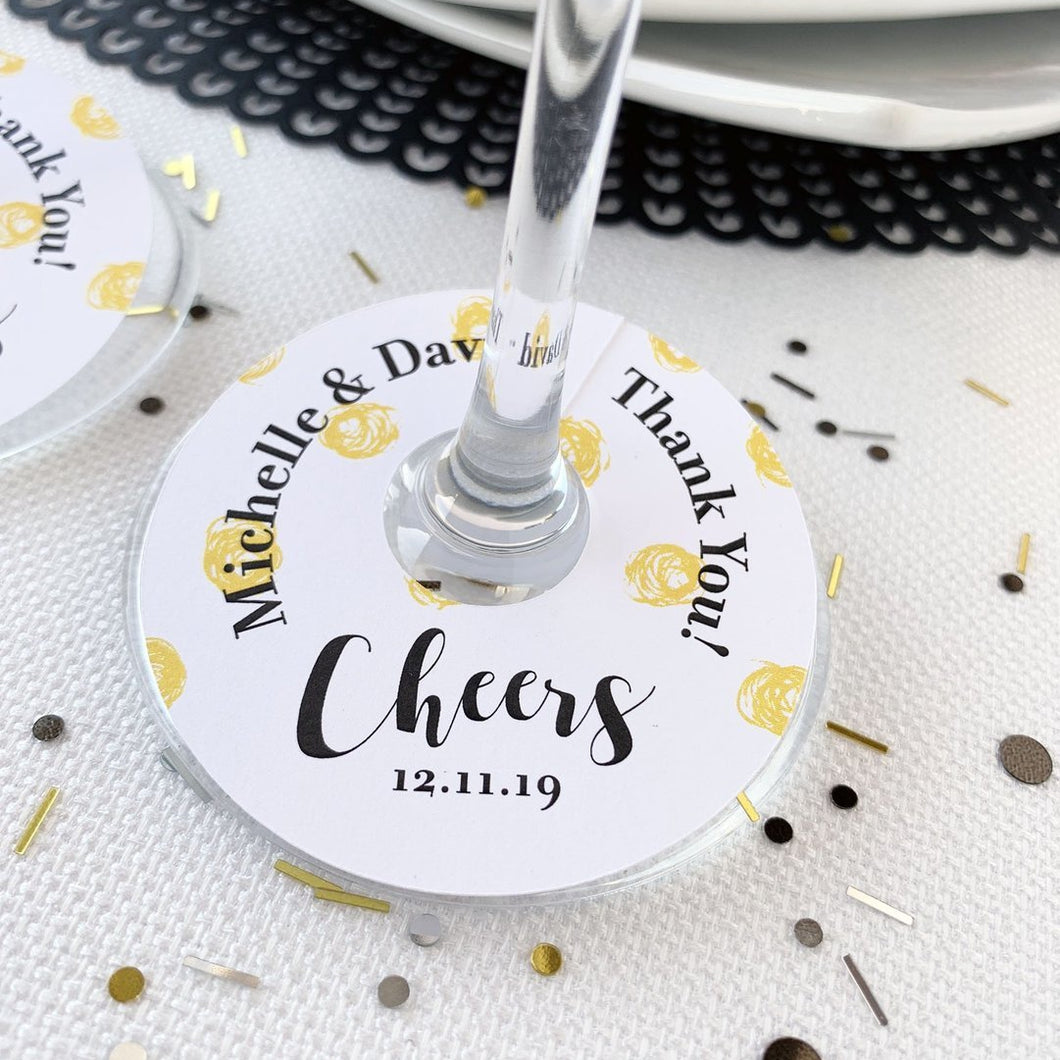 Cheers Thank You Wedding Wine Glass Favor Tags