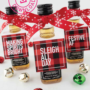 Holiday Mini Bottle Tags Red Plaid Instant Download
