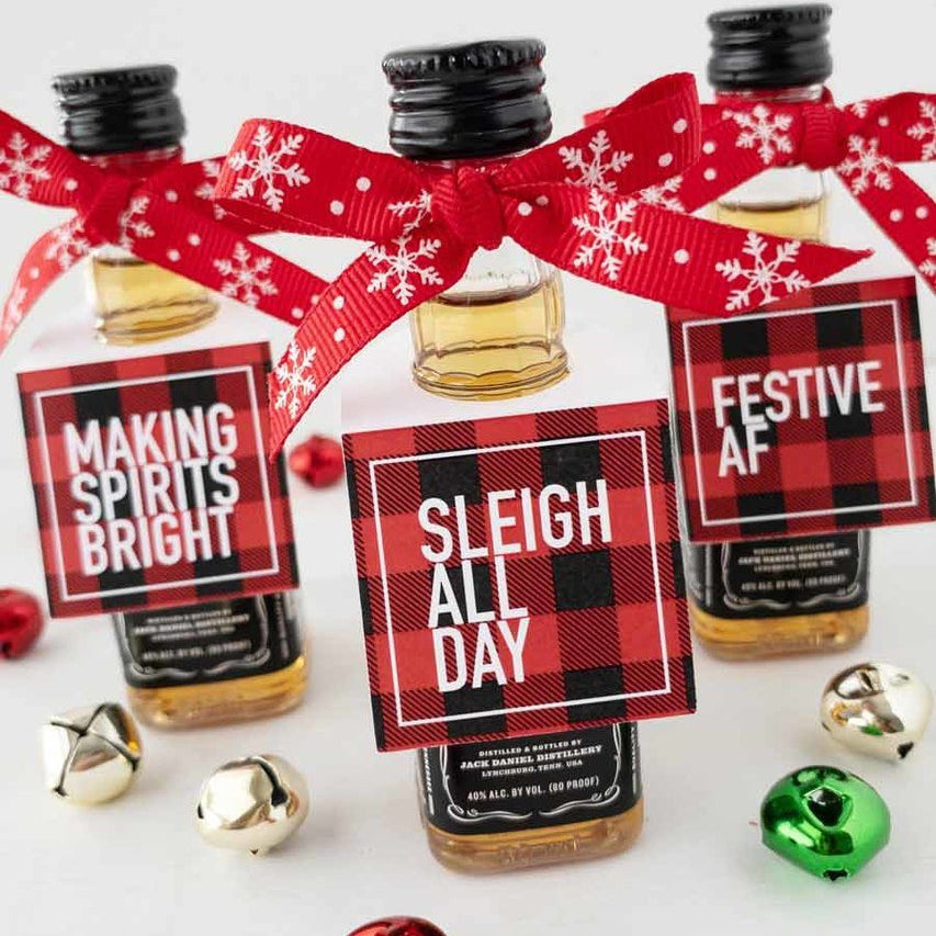 Holiday Mini Bottle Tags Red Plaid