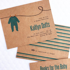 Clothesline Baby Shower Invites
