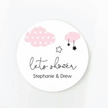 Load image into Gallery viewer, clouds and stars baby shower sticker