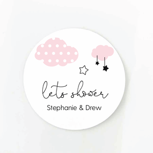clouds and stars baby shower sticker