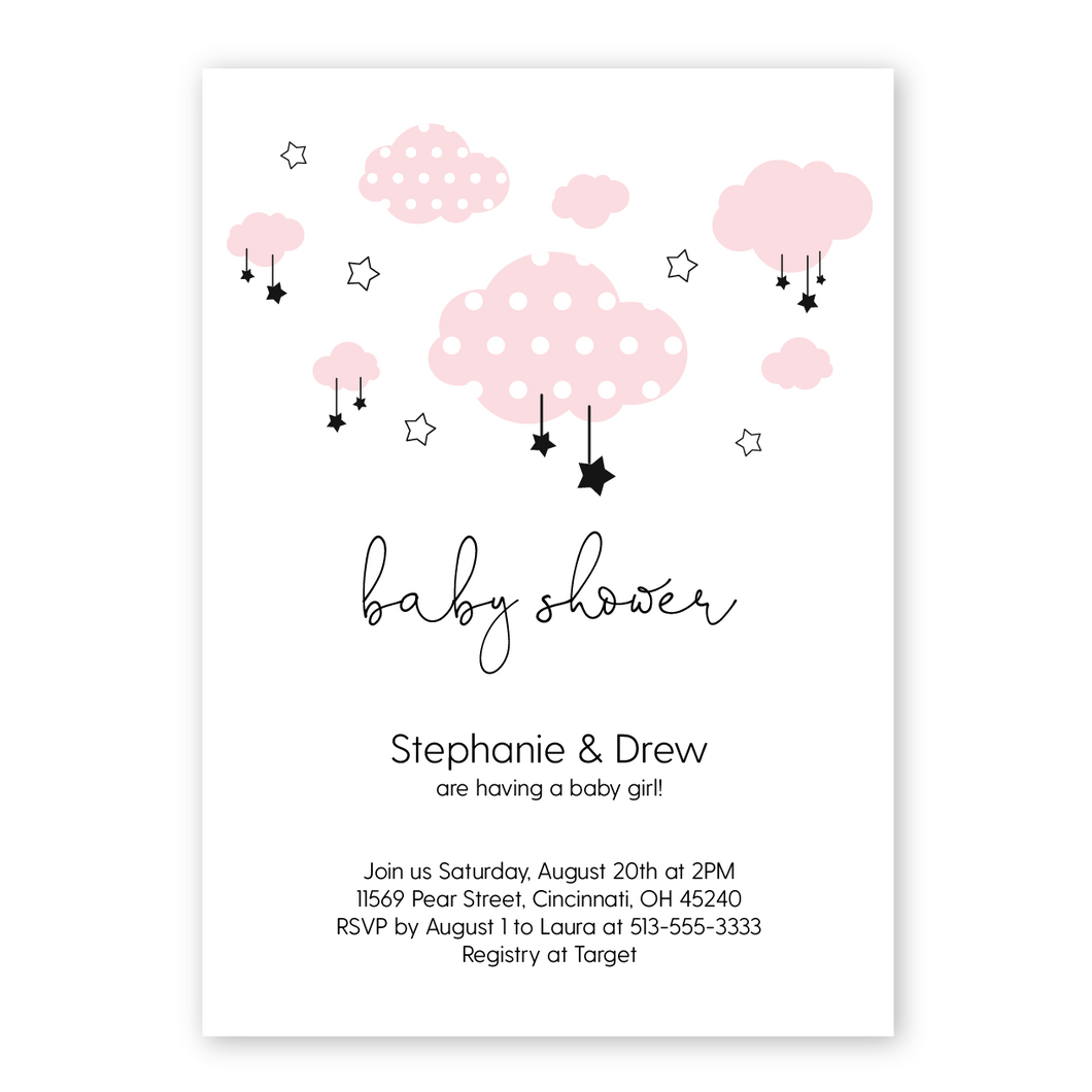 clouds and stars baby shower invitation