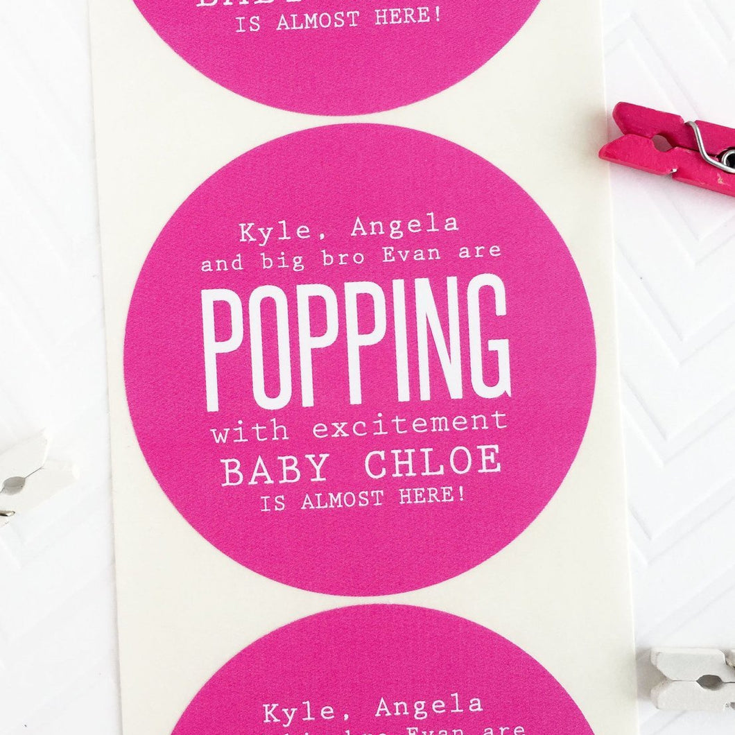 Popping With Excitement Couples Baby Shower Favor Labels