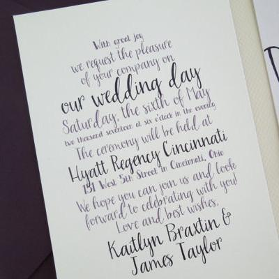 Cursive Wedding Invitation Set