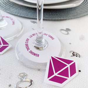 Diamond Ring Wine Glass Tag He Put A Ring On It Bridal Shower Favor Tags