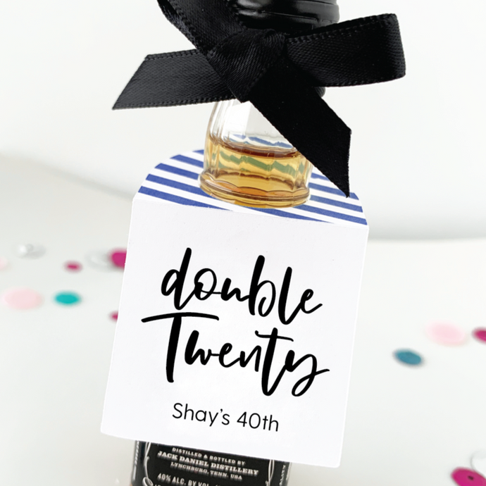 Double Twenty 40th Birthday Favors Mini Bottle Tags
