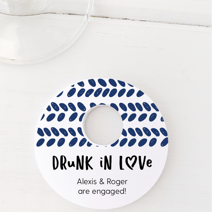 Drunk In Love Engagement Party Glass Stem Tags