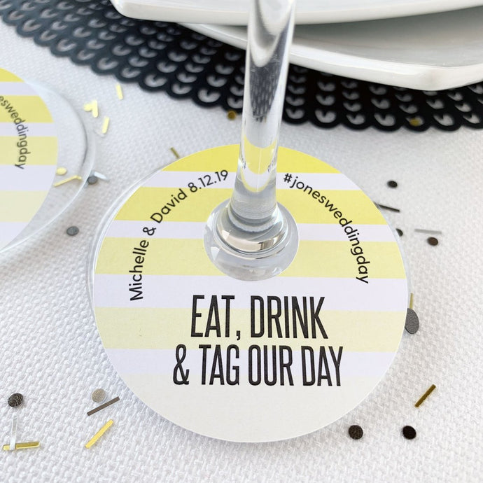 Eat Drink and Tag Your Photos Wedding Hashtags Wine Glass Tags