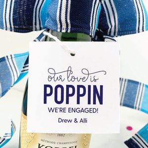 engagement party favor tags square champagne tags