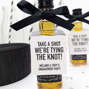 Take a Shot We're Tying the Knot Engagement Party Favor Tags