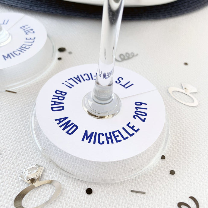 Wine Glass Tag It's Official Were Engaged Engagement Party Favor Tags