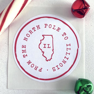 From The North Pole 50 States Christmas Gift Sticker