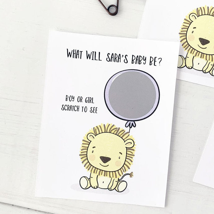 Baby Lion Gender Reveal Scratch Offs