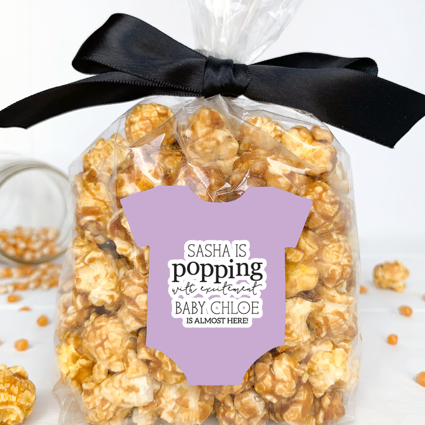 Baby Shower Popcorn Favor Labels for Girl
