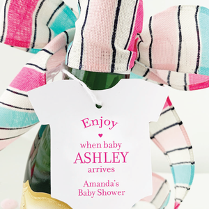 Enjoy Baby Shower Champagne Favor Tags