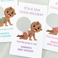 Load image into Gallery viewer, Girl Baby Shower Dirty Diaper Scratch Off Game African American