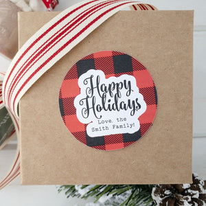 Happy Holidays Gift Label Plaid Christmas Stickers