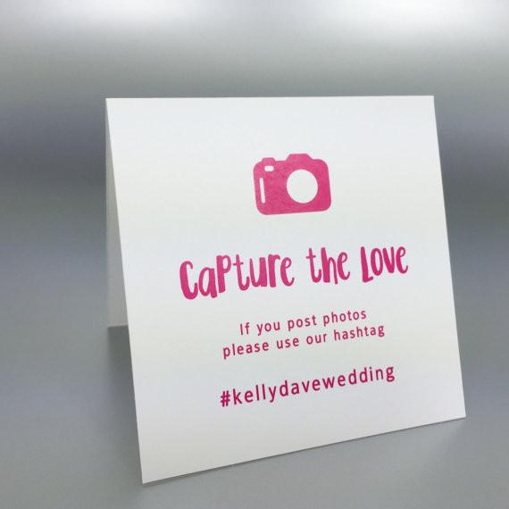Social Media Hashtag Table Tents Camera