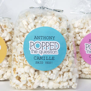He Popped The Question Popcorn Favor Labels