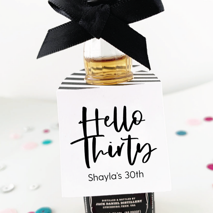 Hello Thirty 30th Birthday Favors Mini Bottle Tags