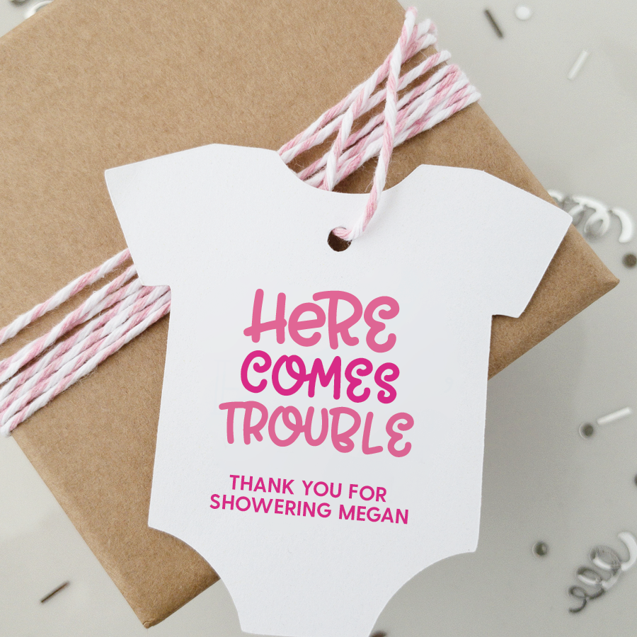 Here Comes Trouble Baby Shower Favor Tags
