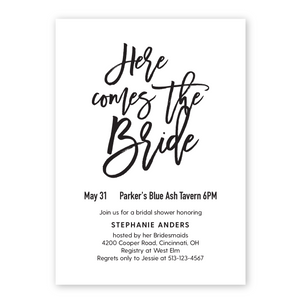 Here Comes The Bride Bridal Shower Invitation