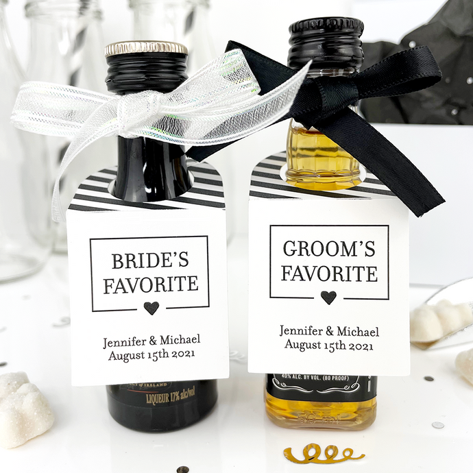 his and hers favorites wedding favor tags on mini liquor bottles