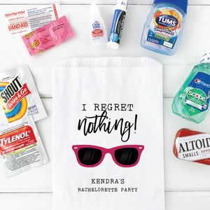 I Regret Nothing Bachelorette Party Hangover Relief Bags