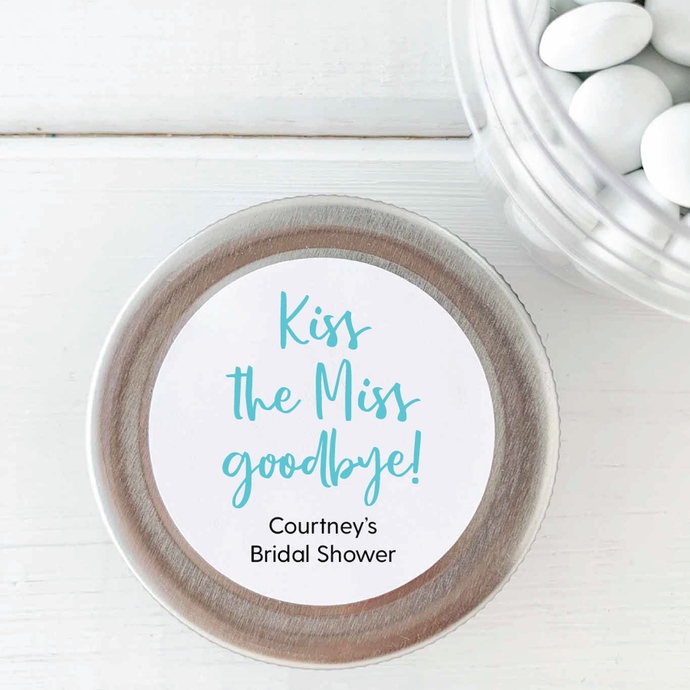 Kiss the Miss Goodbye Bridal Shower Stickers