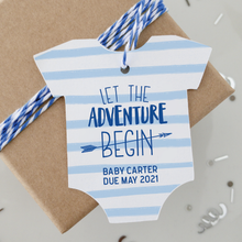 Load image into Gallery viewer, The Adventure Begins Baby Shower Favor Tags
