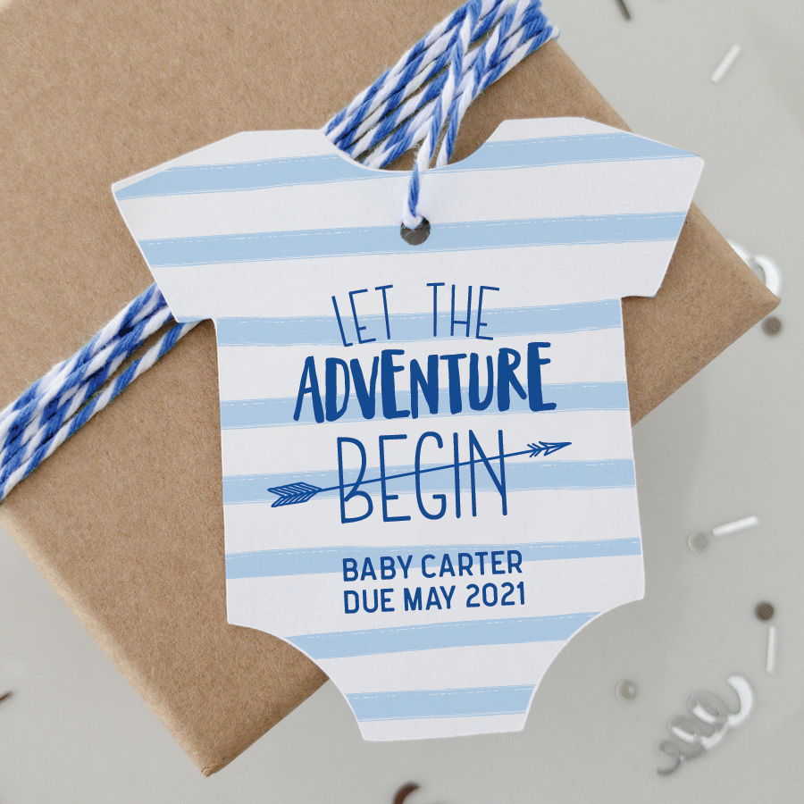 The Adventure Begins Baby Shower Favor Tags