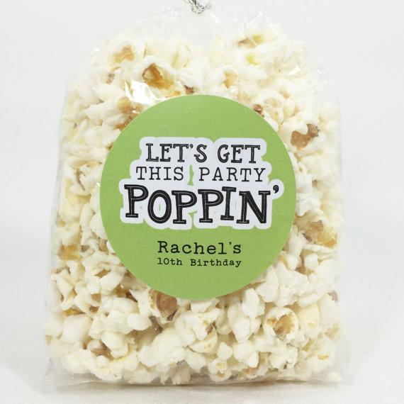 Lets Get This Party Poppin Popcorn Favor Stickers