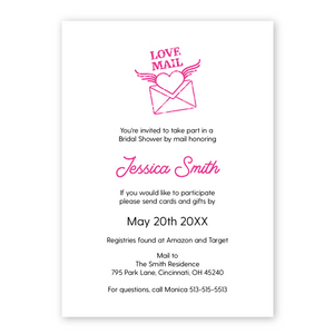 bridal shower by mail invitation, virtual shower