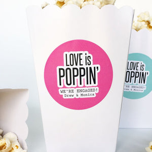 Love is Poppin Engagement Party Favor Labels