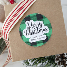 Load image into Gallery viewer, Merry Christmas Stickers Plaid Gift Label