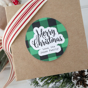 Merry Christmas Stickers Plaid Gift Label