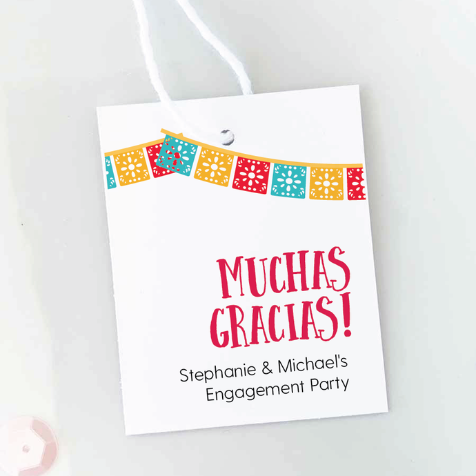 muchas gracias engagement party favor tags