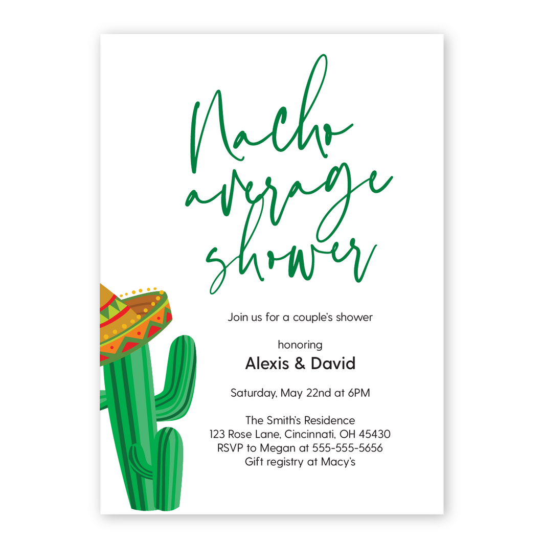 Nacho Average Shower couples shower invitation. Cactus with a sombrero