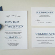 Load image into Gallery viewer, Navy and Teal Wedding Invites