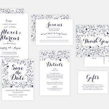 Load image into Gallery viewer, Navy Floral Wedding Invitation Set