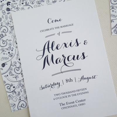 Navy Floral Wedding Invitation Set