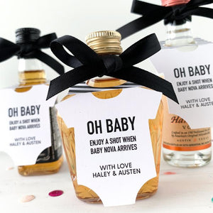 baby shower mini bottle tags, oh baby