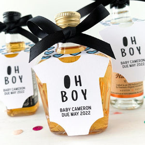 oh boy baby shower mini bottle tags