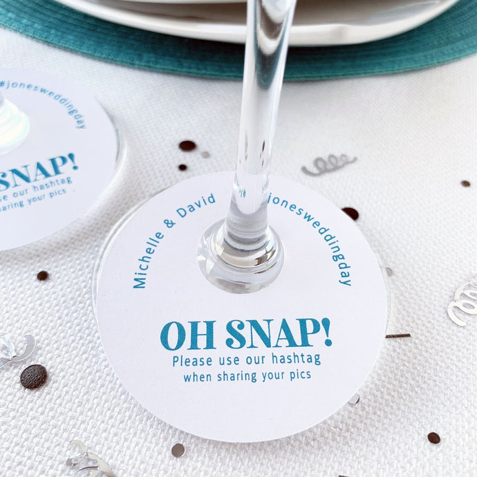 Oh Snap Wedding Hashtags Wine Glass Tags
