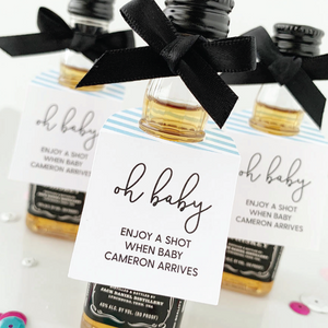 Oh Baby Mini Liquor Bottle Baby Shower Tags
